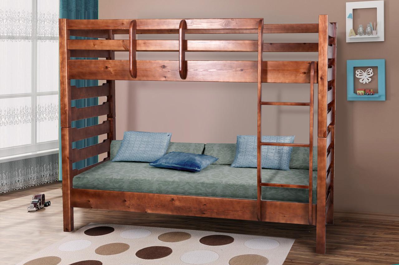 Двухъярусная детская кровать  из массива сосны Троя Микс мебель, цвет на выбор