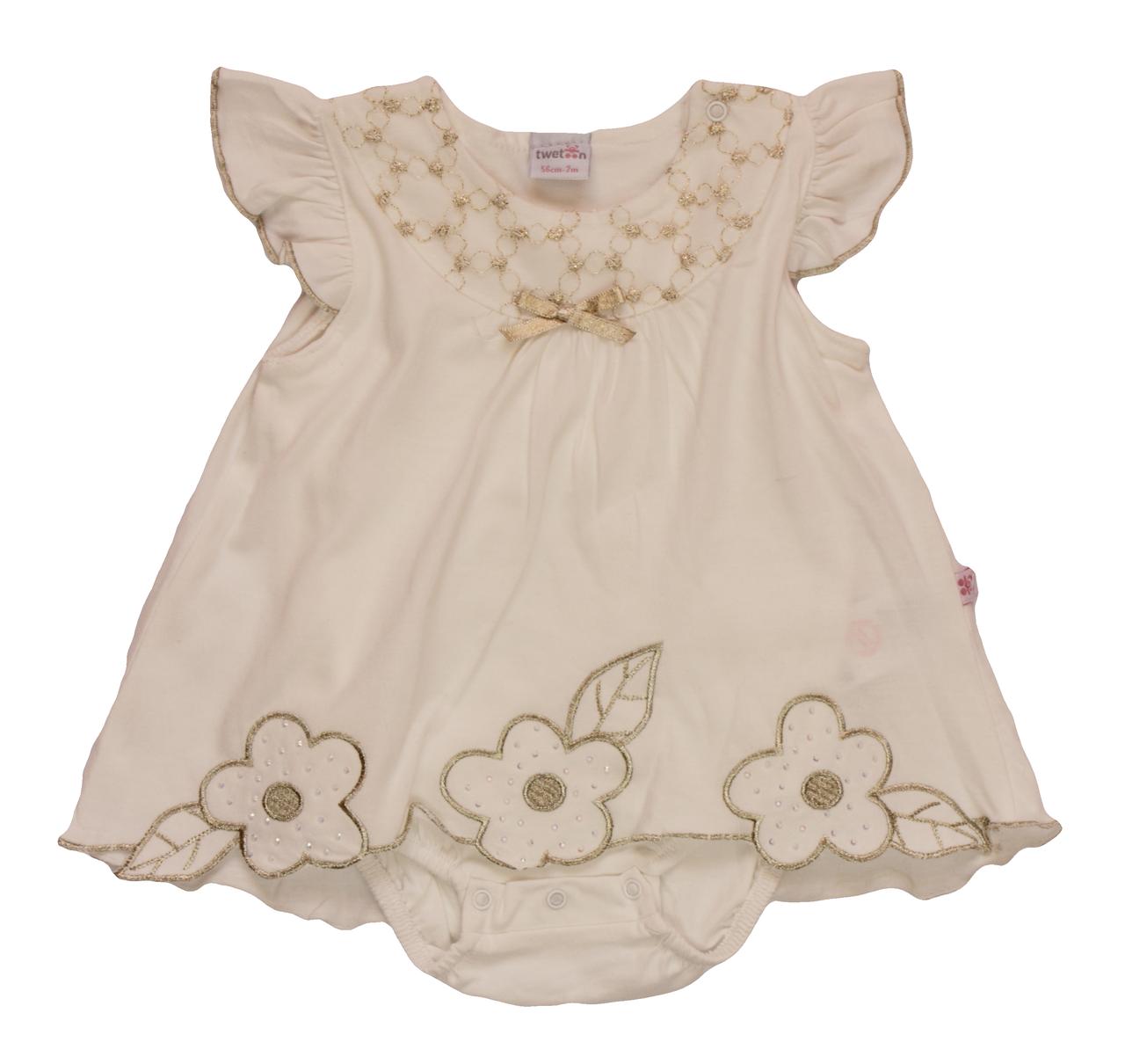 78e8d20f3616 Боди-платье с вышивкой (56 см) молочный Турция