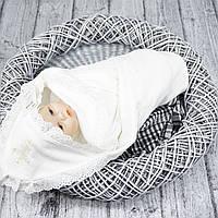 Крестильное полотенце с вышивкой двойная махра 75*100 (молочный)