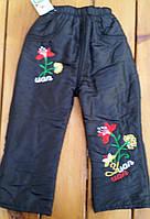 Штаны  с вышивкой на флисе 3-7 лет