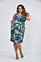 Платье летнее с цветами большого размера 770495, размер 42, 44, 46, 48, 50, 52, 54, 56, 58, 60.