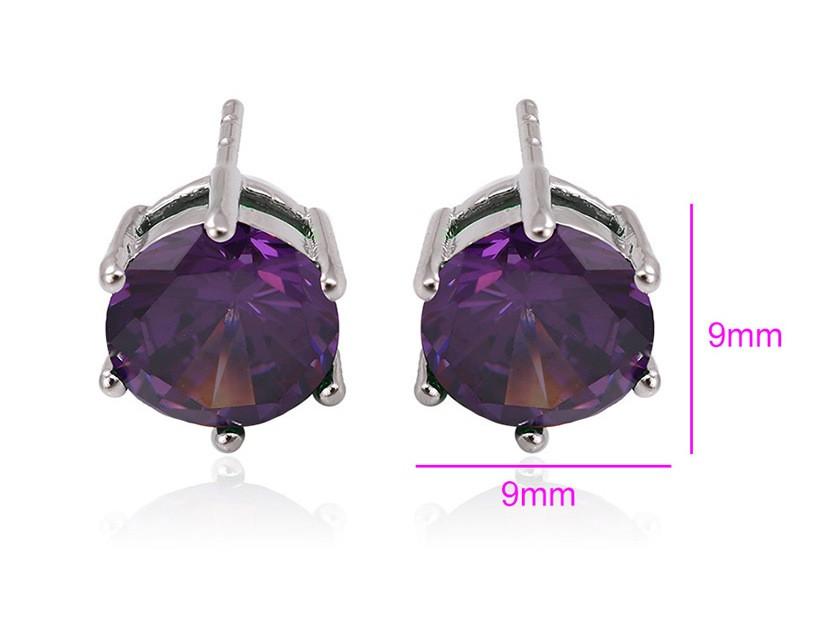 Сережки гвоздики родовані, Фіолетовій цирконій, Xuping
