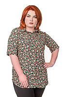 Рубашка женская размер плюс Штапель черный в мелкий цветочек 52-56