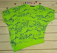 Модная футболка Летучая мышь салатовая    на девочку рост 128-164