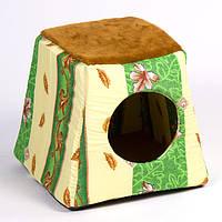 Лежак-дом Природа Лорд, хлопковая ткань, 36х36х32 см
