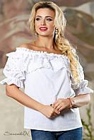 Летняя блузка из батиста с кружевом, размеры 42-52