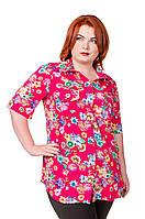 Рубашка женская размер плюс Штапель розовый с цветами 52-56