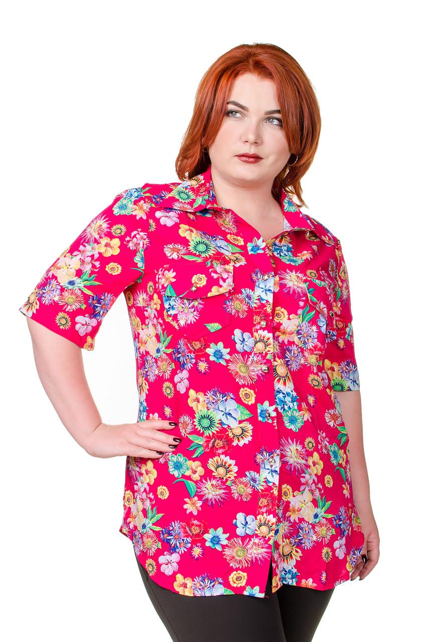 cb1d742bc99 Рубашка женская размер плюс Штапель розовый с цветами 52-56 - Fashop Женская  одежда от