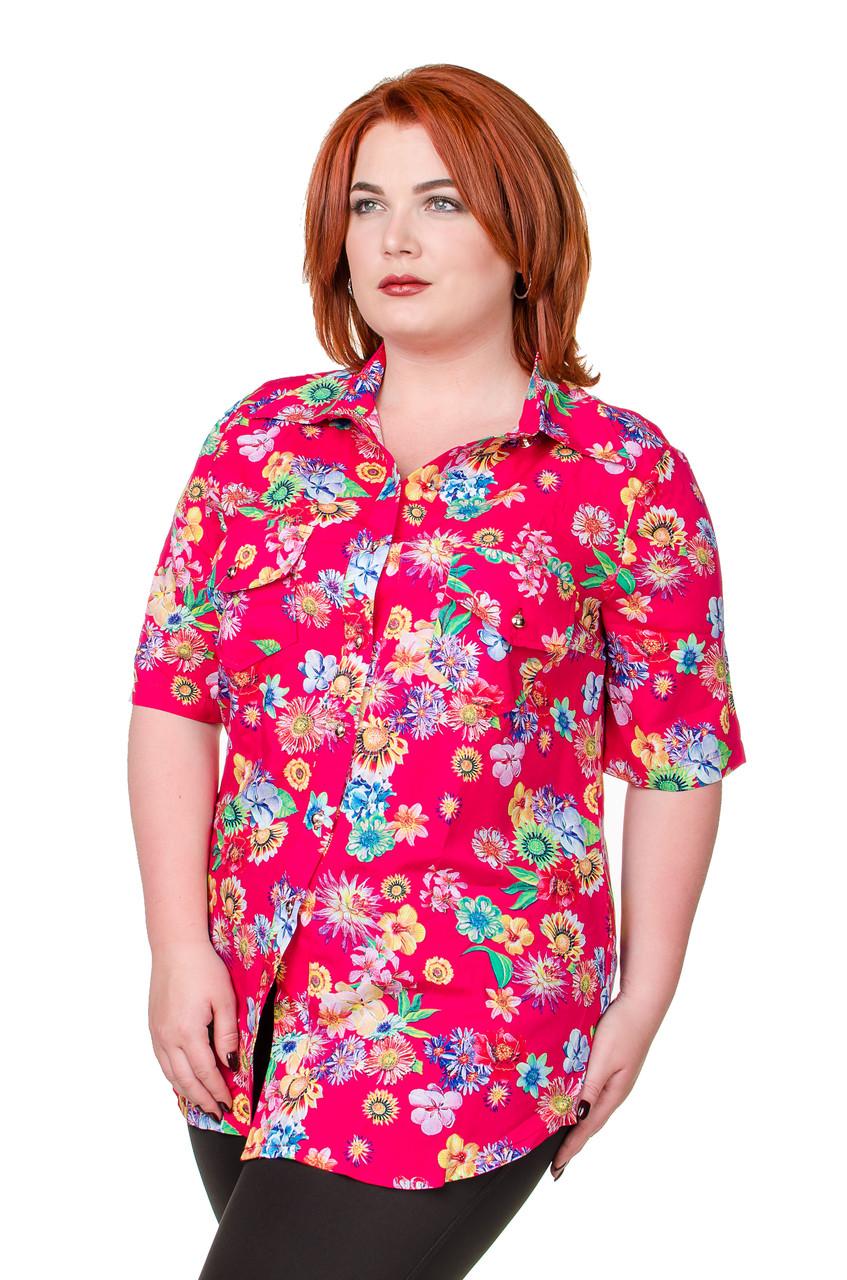 aafe0d2a380 Рубашка женская размер плюс Штапель розовый с цветами 52-56