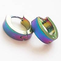Серьги - кольца 12 мм для пирсинга ушей из медицинской стали с титановым покрытием., фото 1