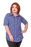 Рубашка женская размер плюс Штапель синий с цветами 52-56