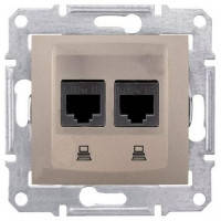 Розетка компьютерная RJ45 кат.5Е UTP, 2 гнезда, титан, Sсhneider Electric Sedna Шнайдер Седна