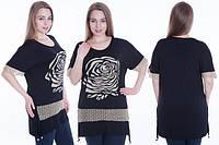 Женская туника больших размеров в черном цвете