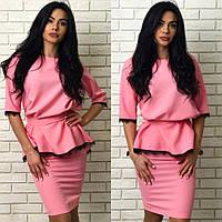 Модный женский розовый костюм двойка: туника с пояском+юбка. Арт-1263/38.
