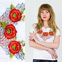 Вышиванка украинская женская Маковая фантазия белая