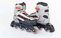Роликовые коньки раздвижные KEPAI SK-320BK-S (28-31) (PL,PVC, кол.PU, пласт. рама, черный-серый)