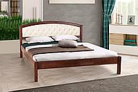 Кровать двуспальная деревянная (массив ольхи) с мягким изголовьем  Джульетта Микс мебель, цвет темный орех