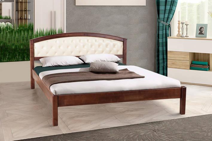 Кровать двуспальная деревянная (массив ольхи) с мягким изголовьем  Джульетта Микс мебель, цвет темный орех, фото 2