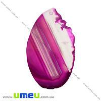 Срез Агата, Розовый, 77х46 мм, 1 шт (POD-014440)
