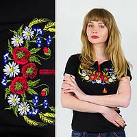 Трикотажная футболка вышиванка женская Колосок