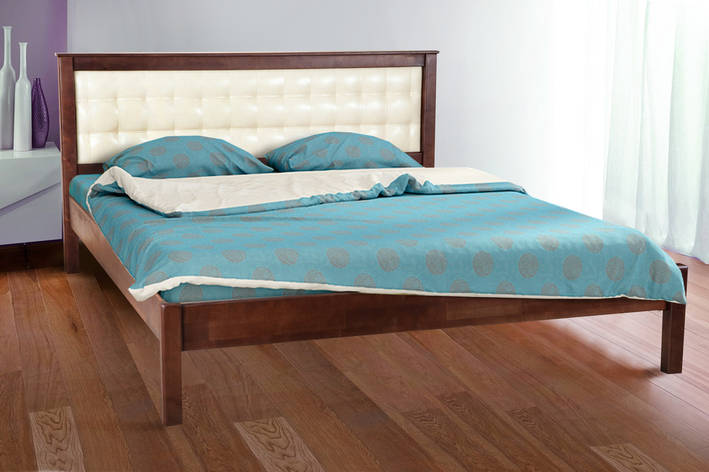 Кровать двуспальная деревянная (массив ольхи) с мягким изголовьем   Карина Микс мебель, цвет темный орех, фото 2