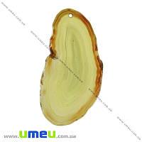 Срез Агата, Зеленый светлый, 76х39 мм, 1 шт (POD-009322)