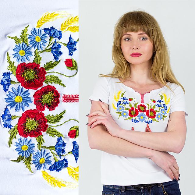 Женская футболка вышиванка Колосок белая