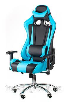 Крісло комп'ютерне, геймерське ExtremeRace black/blue, чорно-блакитне