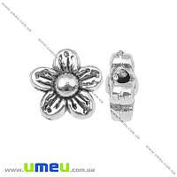 Бусина мет. Цветок, 8,5х4 мм, Античное серебро, 1 шт (BUS-001140)