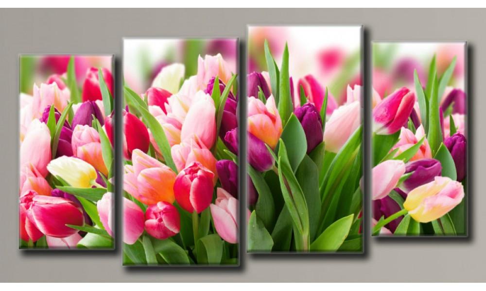 """Модульная картина на холсте """"Розовые тюльпаны"""" для интерьера"""