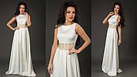 Элегантное женское платье в пол материал королевский атлас, пояс украшен кружевом. Цвет белый