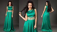 Элегантное женское платье в пол материал королевский атлас, пояс украшен кружевом. Цвет изумрудный
