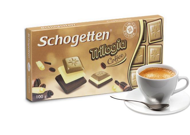 Шоколад Schogetten Trilogia Coffee белый+черный с кофе  100г, фото 2
