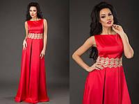 Элегантное женское платье в пол материал королевский атлас, пояс украшен кружевом. Цвет красный