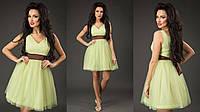 Элегантное короткое женское платье с пышной фатиновой юбкой, пояс атласный съемный. Цвет салатовый