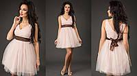 Элегантное короткое женское платье с пышной фатиновой юбкой, пояс атласный съемный. Цвет пудра