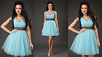 Элегантное короткое женское платье с пышной фатиновой юбкой, пояс атласный съемный. Цвет голубой