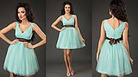 Элегантное короткое женское платье с пышной фатиновой юбкой, пояс атласный съемный. Цвет мята