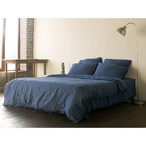 Постельное белье лен Синий ТМ Царский дом  (Евро), фото 2