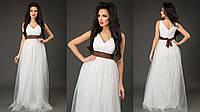 Элегантное женское платье в пол с пышной фатиновой юбкой, пояс атласный съемный. Цвет белый