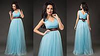 Элегантное женское платье в пол с пышной фатиновой юбкой, пояс атласный съемный. Цвет голубой