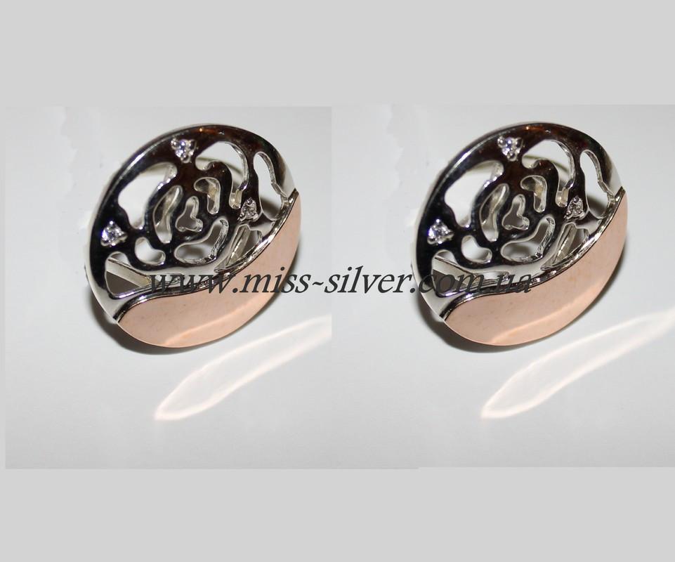 Серьги Цветок серебряные с золотом