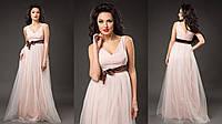 Элегантное женское платье в пол с пышной фатиновой юбкой, пояс атласный съемный. Цвет пудра