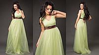 Элегантное женское платье в пол с пышной фатиновой юбкой, пояс атласный съемный. Цвет салатовый