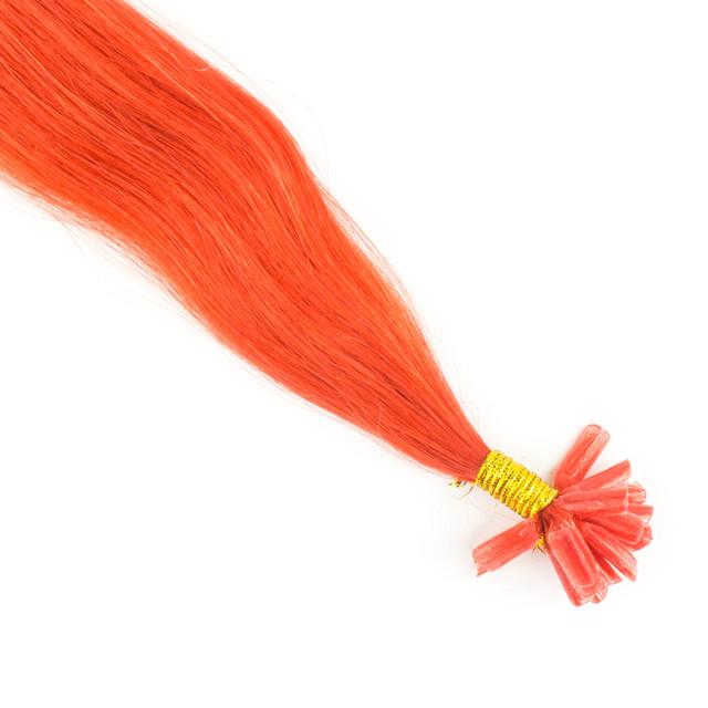 Цветная прядь натуральных волос на кератиновой капсуле для наращивания оранжевая
