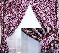 Комплект готовых штор  блэкаут, двусторонний. Цвет фиолетовый с розовым  065ш