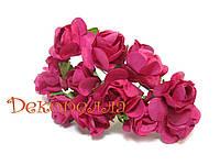 Букет бумажных роз, 1,6см (малиновые)