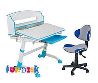 Детская растущая парта для дома FunDesk Volare II Blue + Детское кресло LST3 BU-GY