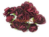 Букет бумажных роз, 1,6см (бордовые)