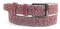 Ремень женский кожаный классика тату цветок розовый (100039)